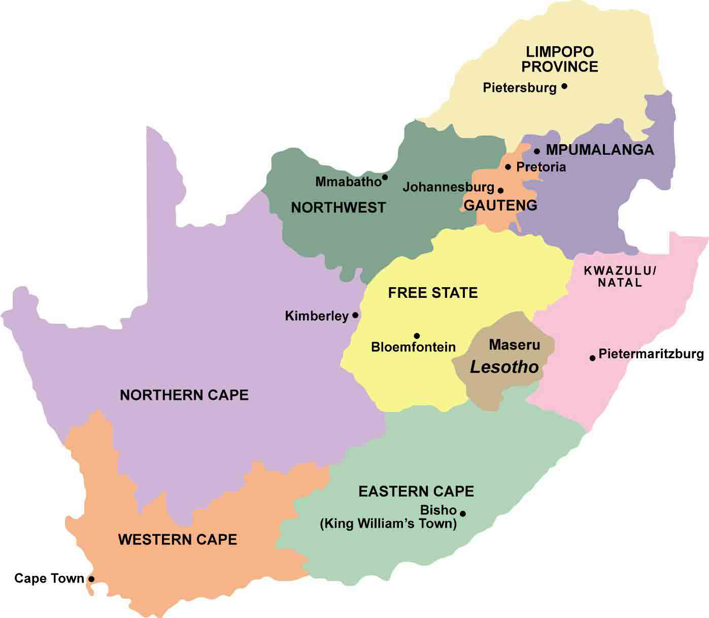 Towns and destinations South Africa by Province Tourist Information – Tourist Attractions Map In Africa
